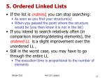 5 ordered linked lists