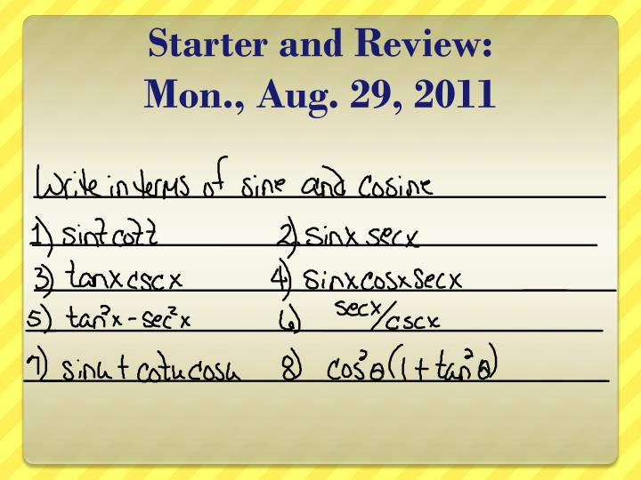 starter and review mon aug 29 2011 n.