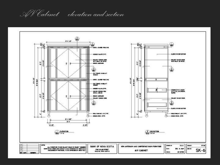 A/V Cabinet – elevation and section