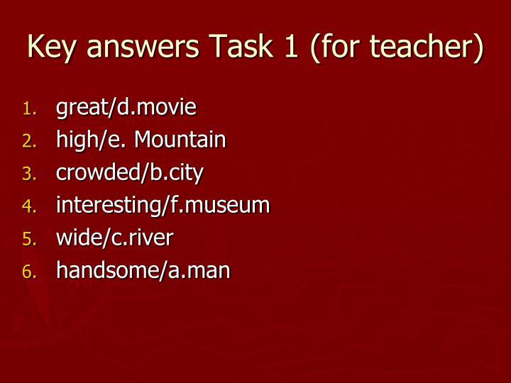 Key answers Task 1 (for teacher)