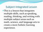 subject integrated lesson