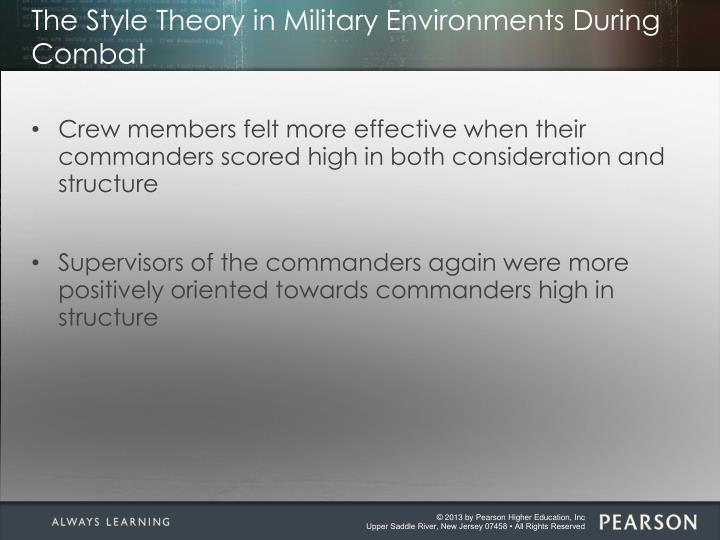 The Style Theory in Military Environments During Combat