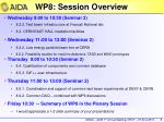 wp8 session overview