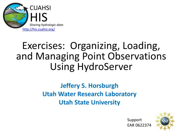 exercises organizing loading and managing point observations using hydroserver n.