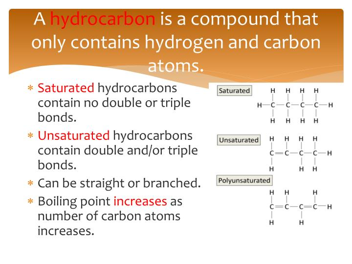 A hydrocarbon is a compound that only contains hydrogen and carbon atoms