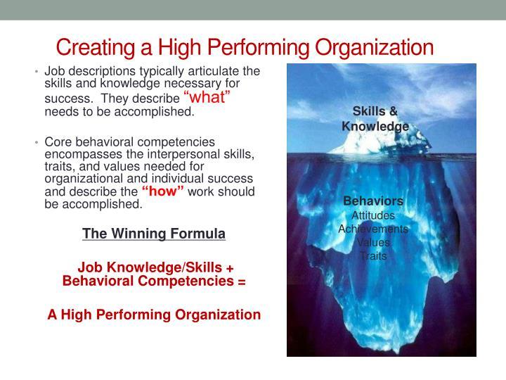 Creating a High Performing Organization