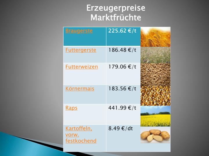 Erzeugerpreise Marktfrüchte