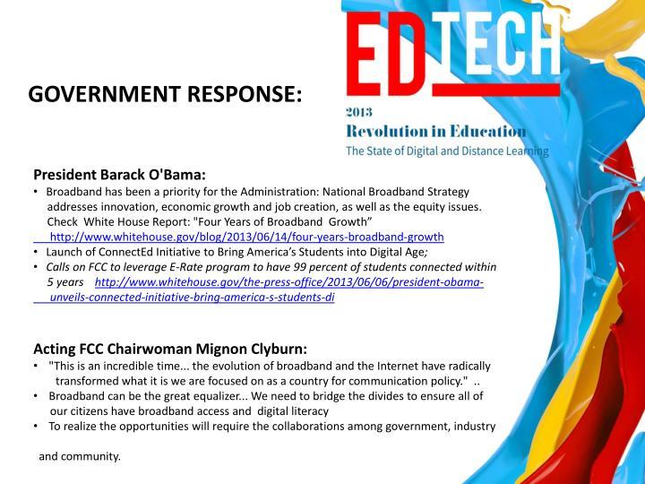 GOVERNMENT RESPONSE: