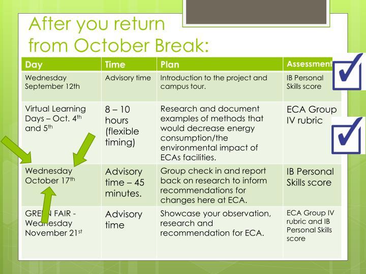 After you return                   from October Break:
