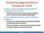 surfacing approaches to canonical texts