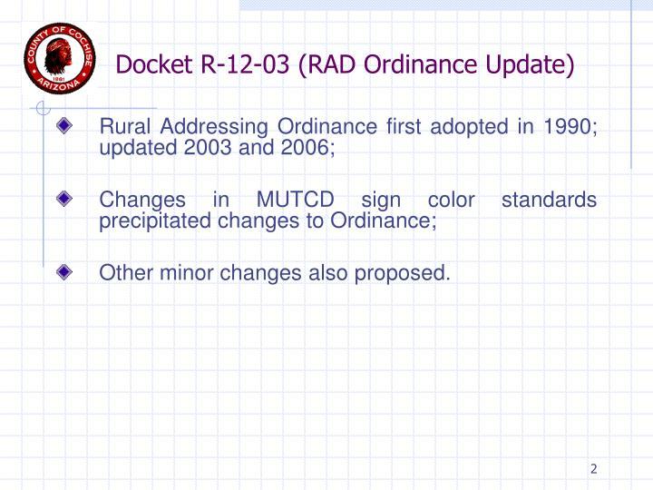 Docket r 12 03 rad ordinance update