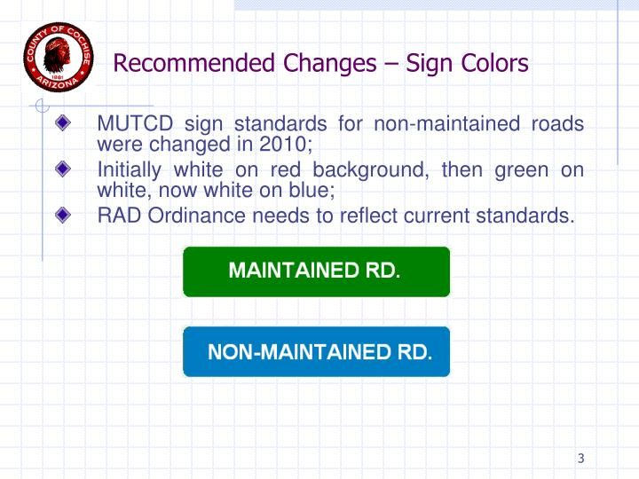 Recommended Changes – Sign Colors