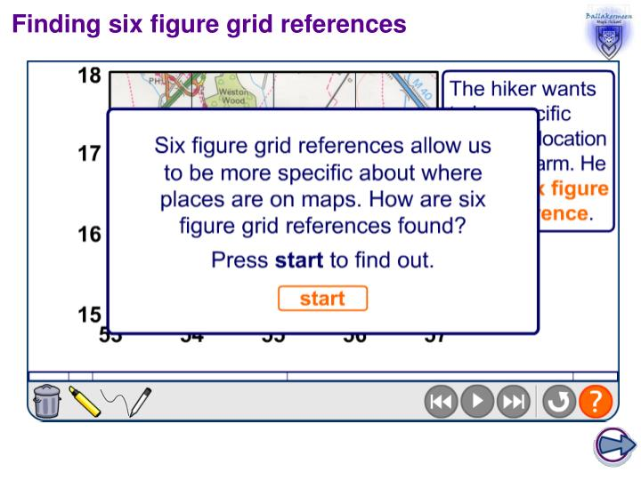 Finding six figure grid references