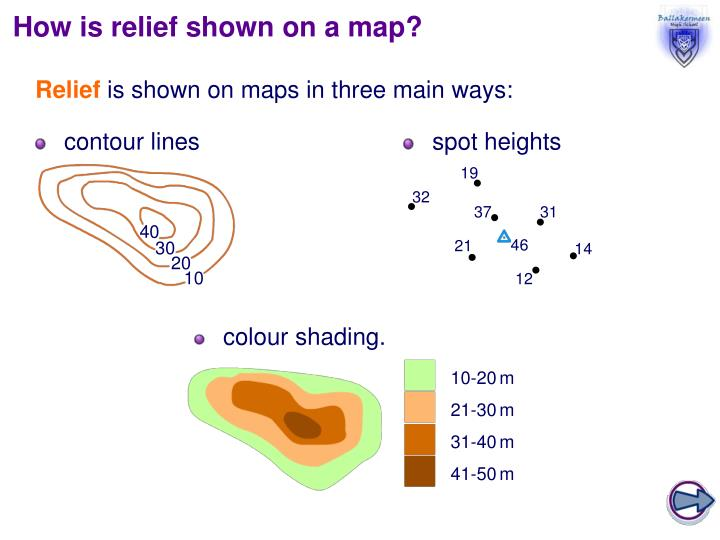How is relief shown on a map?