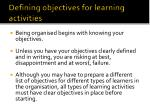 defining objectives for learning activities