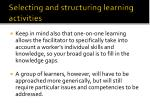 selecting and structuring learning activities4