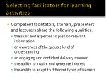 selecting facilitators for learning activities2
