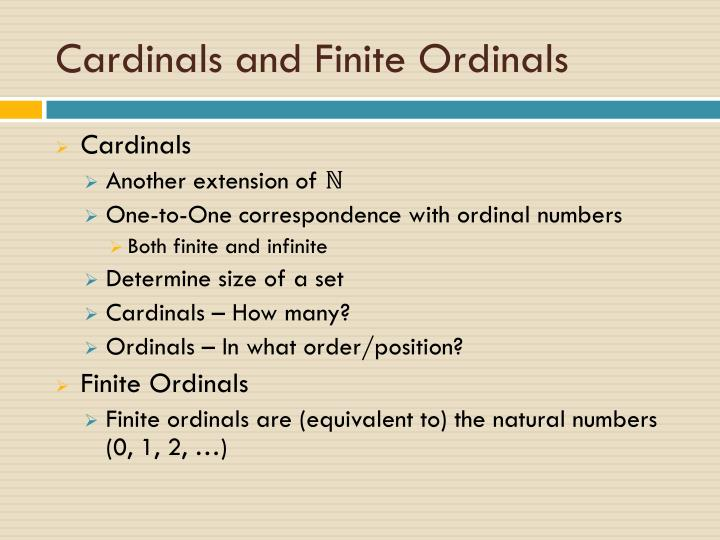 Cardinals and Finite Ordinals
