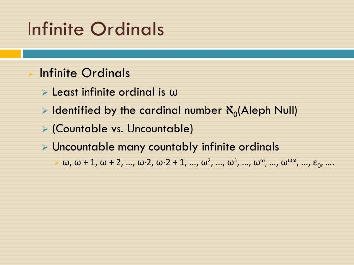 Infinite Ordinals