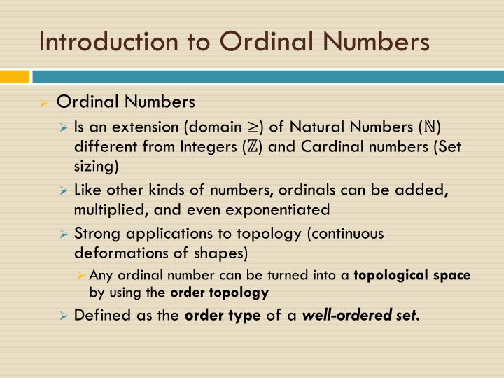 Introduction to ordinal numbers