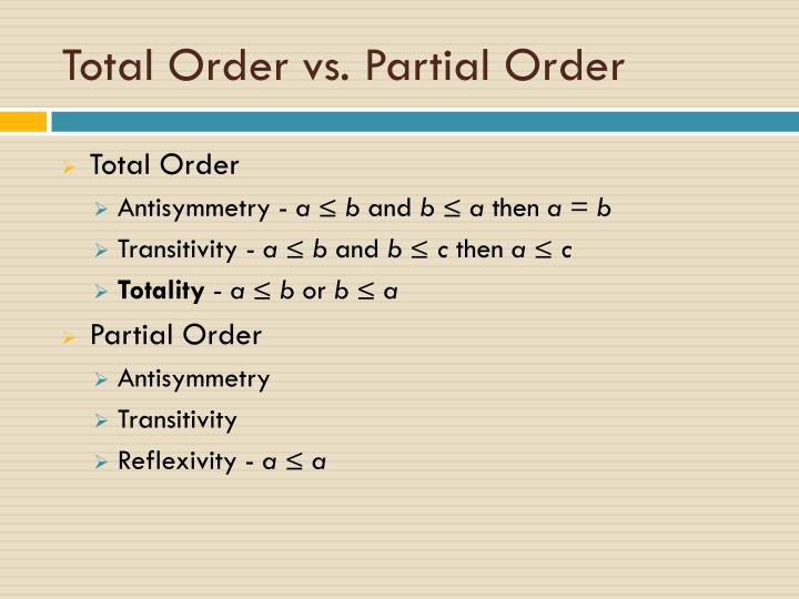 Total Order vs. Partial Order