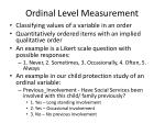 ordinal level measurement