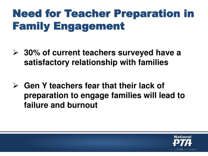 Need for Teacher Preparation in Family Engagement