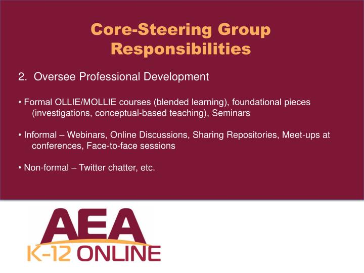Core-Steering Group Responsibilities