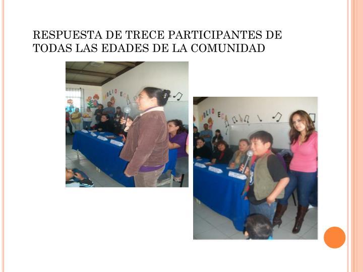 RESPUESTA DE TRECE PARTICIPANTES DE TODAS LAS EDADES DE LA COMUNIDAD