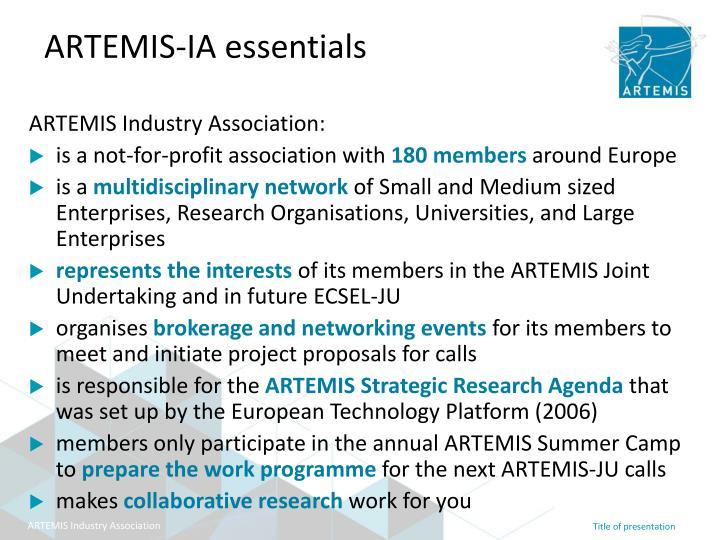 Artemis ia essentials