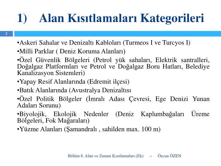 1 alan k s tlamalar kategorileri