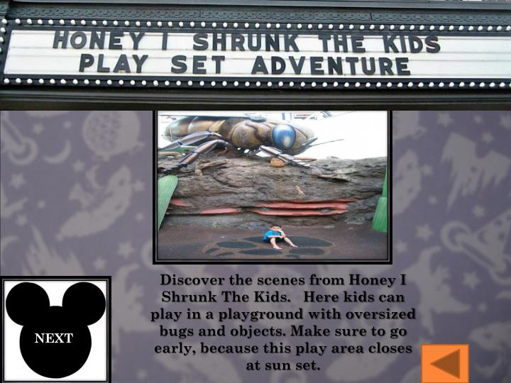 Discover the scenes from Honey I Shrunk The Kids.   Here kids can play in a playground with oversized bugs and objects. Make sure to go early, because this play area closes at sun set.