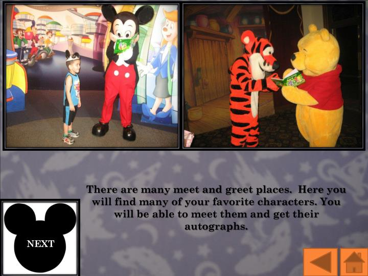There are many meet and greet places.  Here you will find many of your favorite characters. You will be able to meet them and get their autographs.