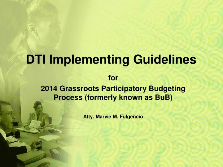 Dti implementing guidelines