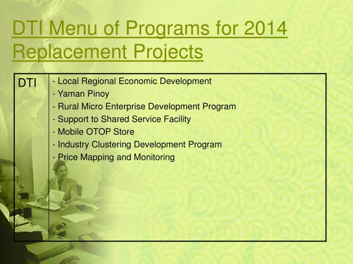 DTI Menu of Programs for 2014 Replacement Projects