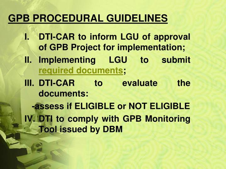 GPB PROCEDURAL GUIDELINES