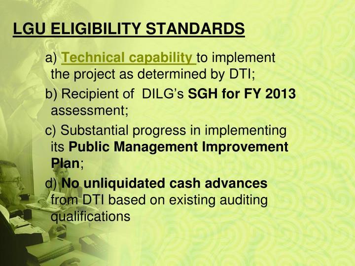 Lgu eligibility standards