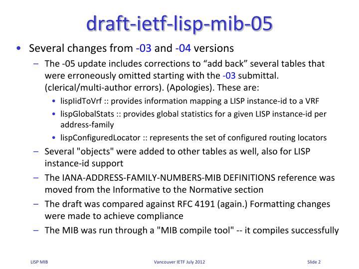 Draft ietf lisp mib 05