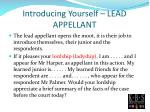 introducing yourself lead appellant