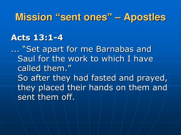 "Mission ""sent ones"" – Apostles"