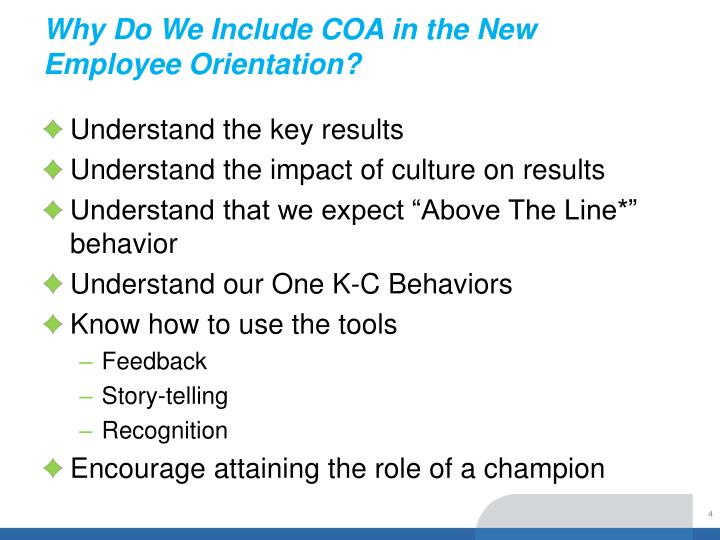 Why Do We Include COA in the New Employee Orientation?