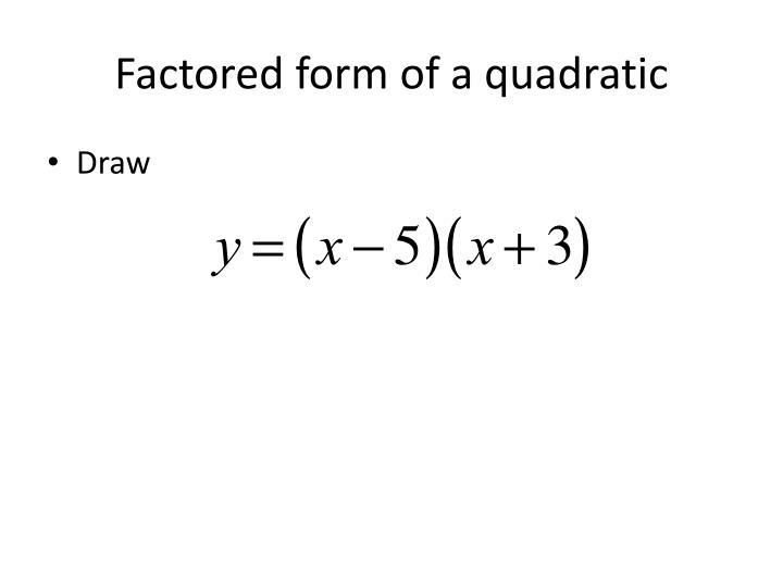 Factored form of a quadratic