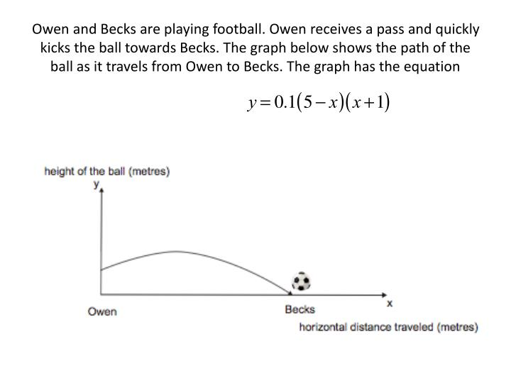 Owen and Becks are playing football. Owen receives a pass and quickly kicks the ball towards Becks. The graph below shows the path of the ball as it travels from Owen to Becks. The graph has the equation