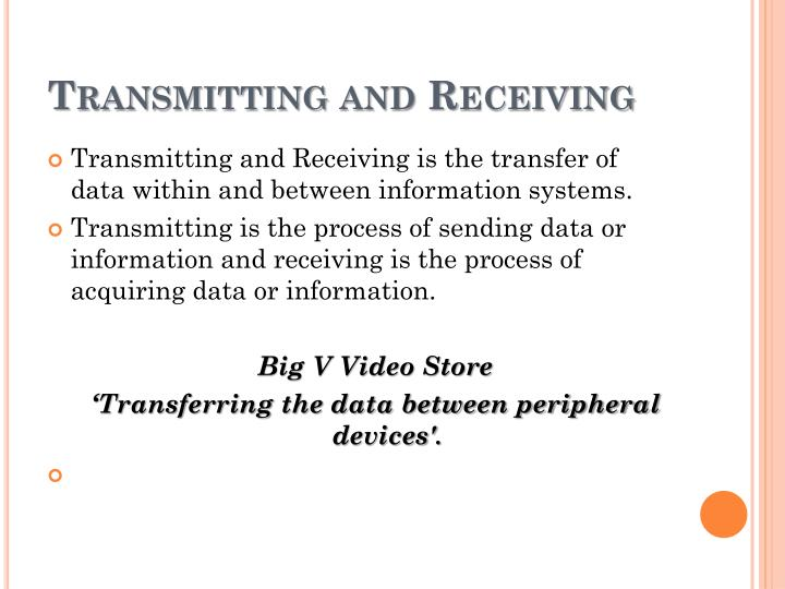 Transmitting and Receiving