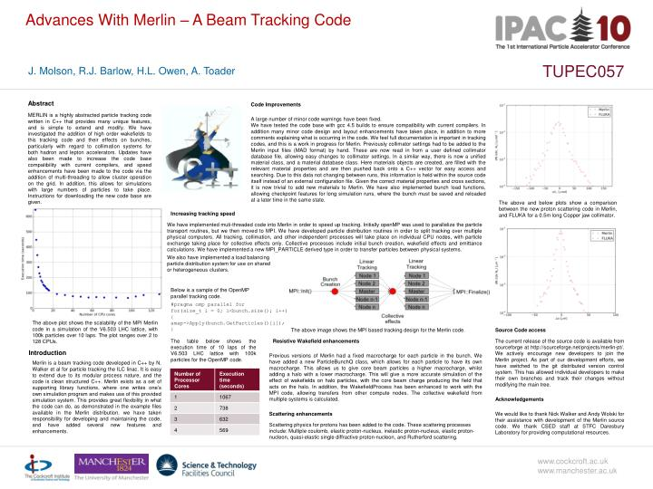 Advances With Merlin – A Beam Tracking Code