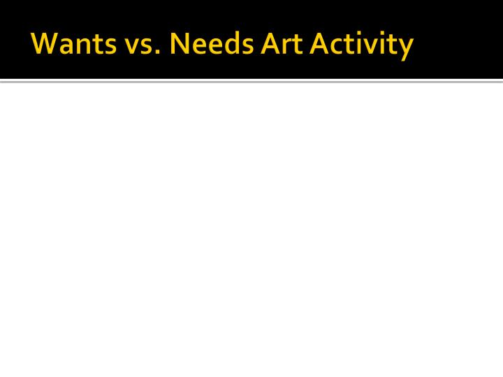 Wants vs. Needs Art Activity