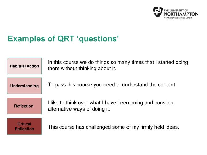Examples of QRT 'questions'