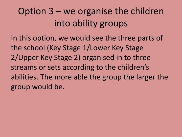 Option 3 – we organise the children into ability groups