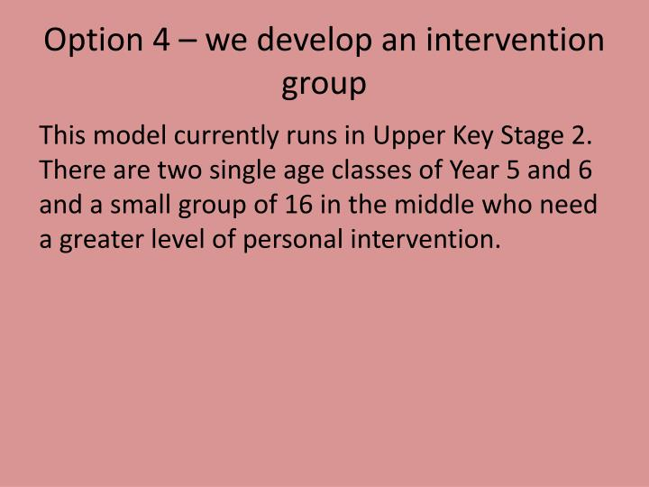 Option 4 – we develop an intervention group