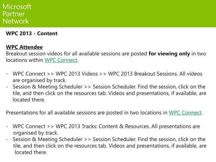 WPC 2013 - Content